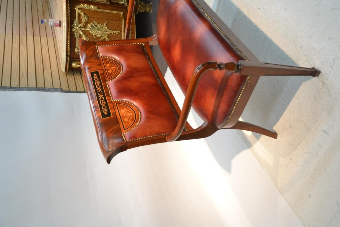 CONTEMPORARY INLAID LEATHER SEAT SETTEE - 6