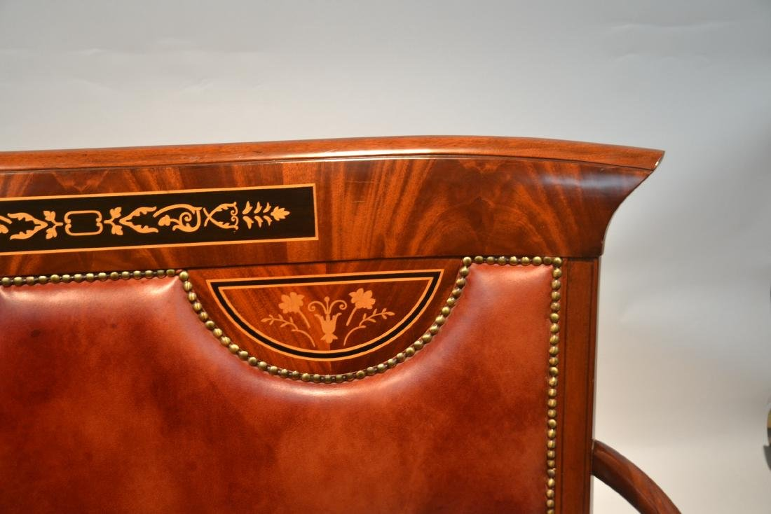 CONTEMPORARY INLAID LEATHER SEAT SETTEE - 7