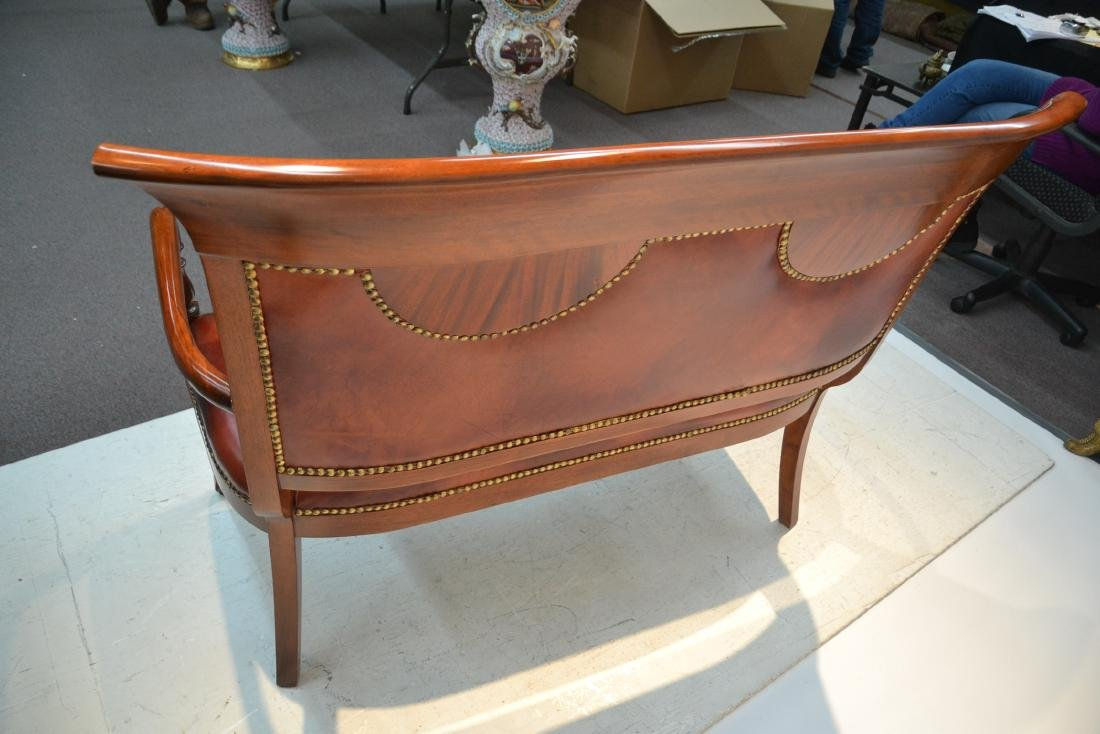 CONTEMPORARY INLAID LEATHER SEAT SETTEE - 8
