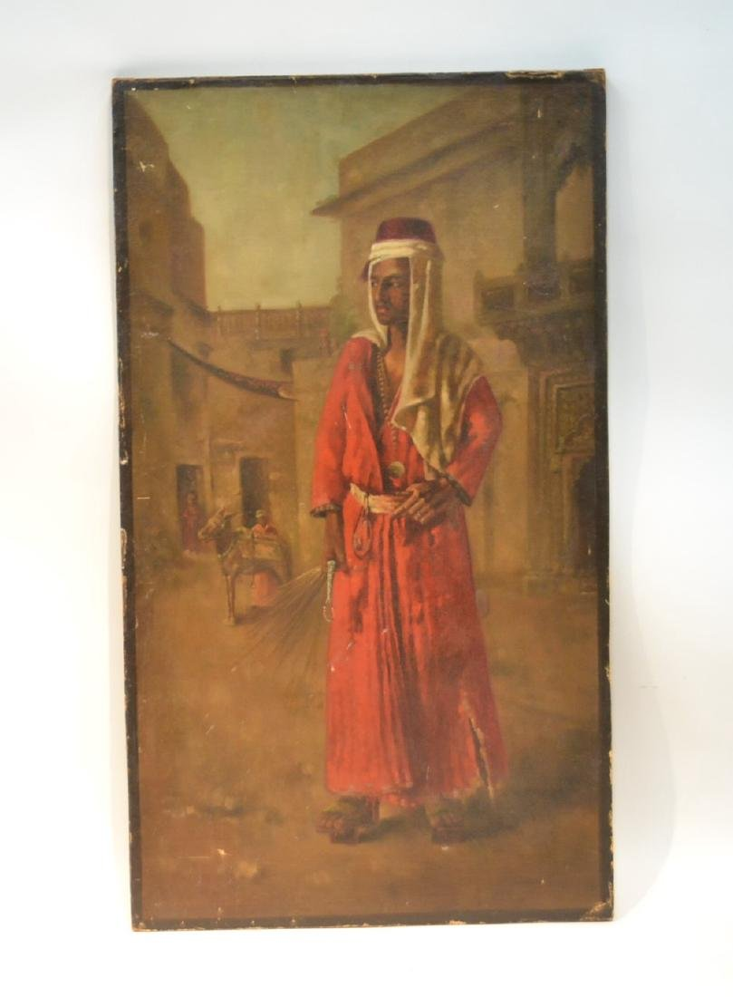OIL ON CANVAS MOUNTED ON BOARD OF ARAB