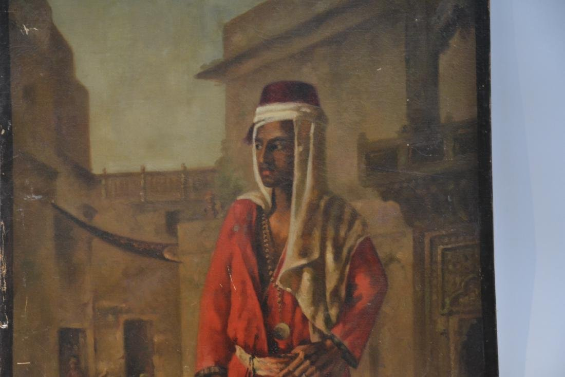 OIL ON CANVAS MOUNTED ON BOARD OF ARAB - 2