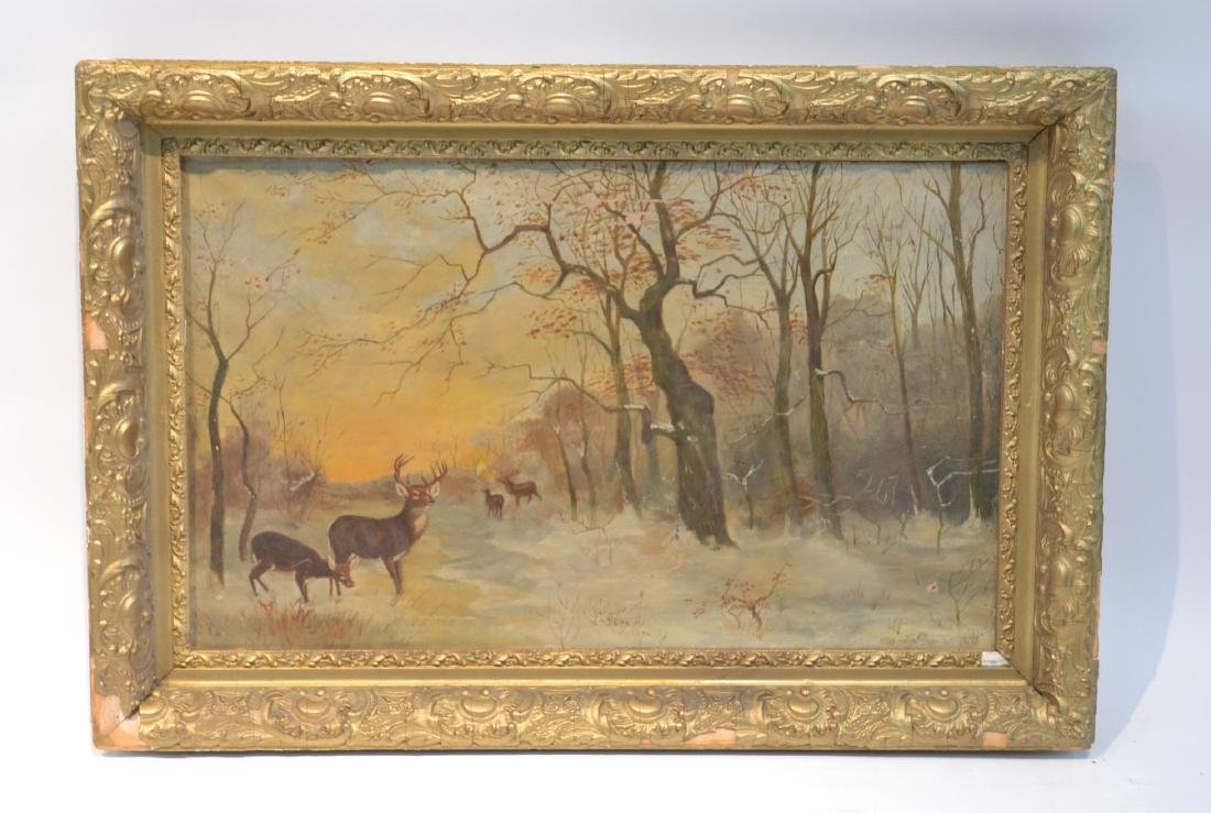 OIL ON CANVAS OF DEER IN FOREST ; SIGNED
