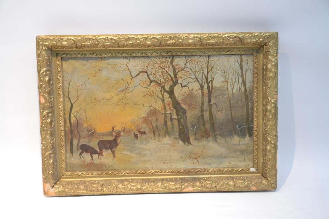 OIL ON CANVAS OF DEER IN FOREST ; SIGNED - 2