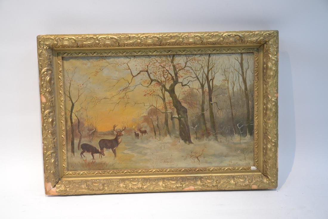 OIL ON CANVAS OF DEER IN FOREST ; SIGNED - 3