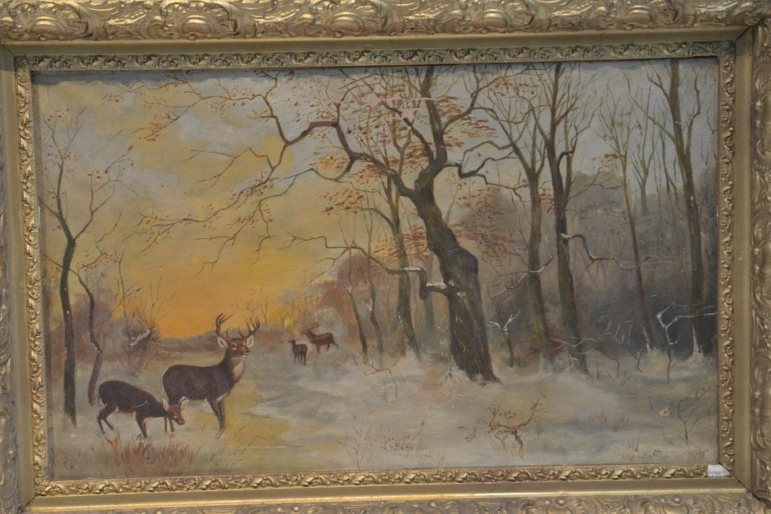 OIL ON CANVAS OF DEER IN FOREST ; SIGNED - 4