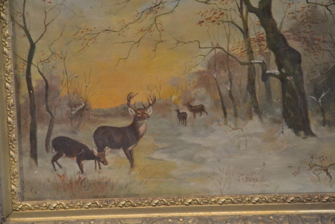 OIL ON CANVAS OF DEER IN FOREST ; SIGNED - 5