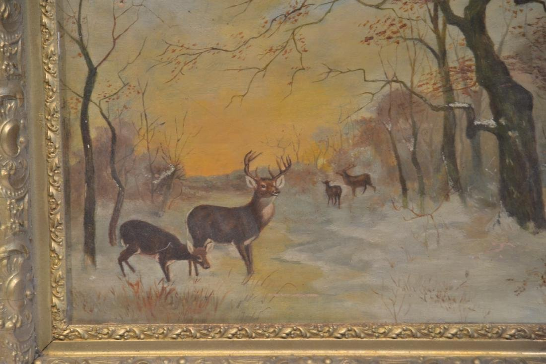 OIL ON CANVAS OF DEER IN FOREST ; SIGNED - 6