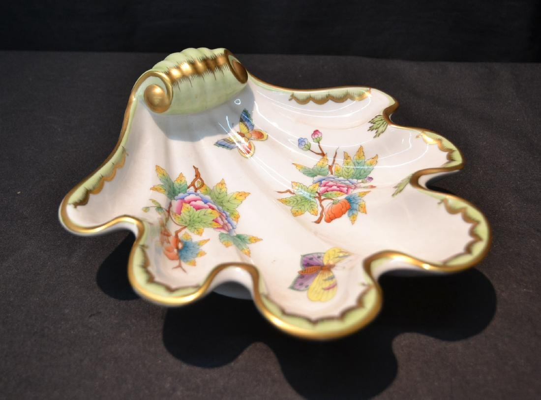"HEREND SHELL FORM DISH - 9"" x 9"""