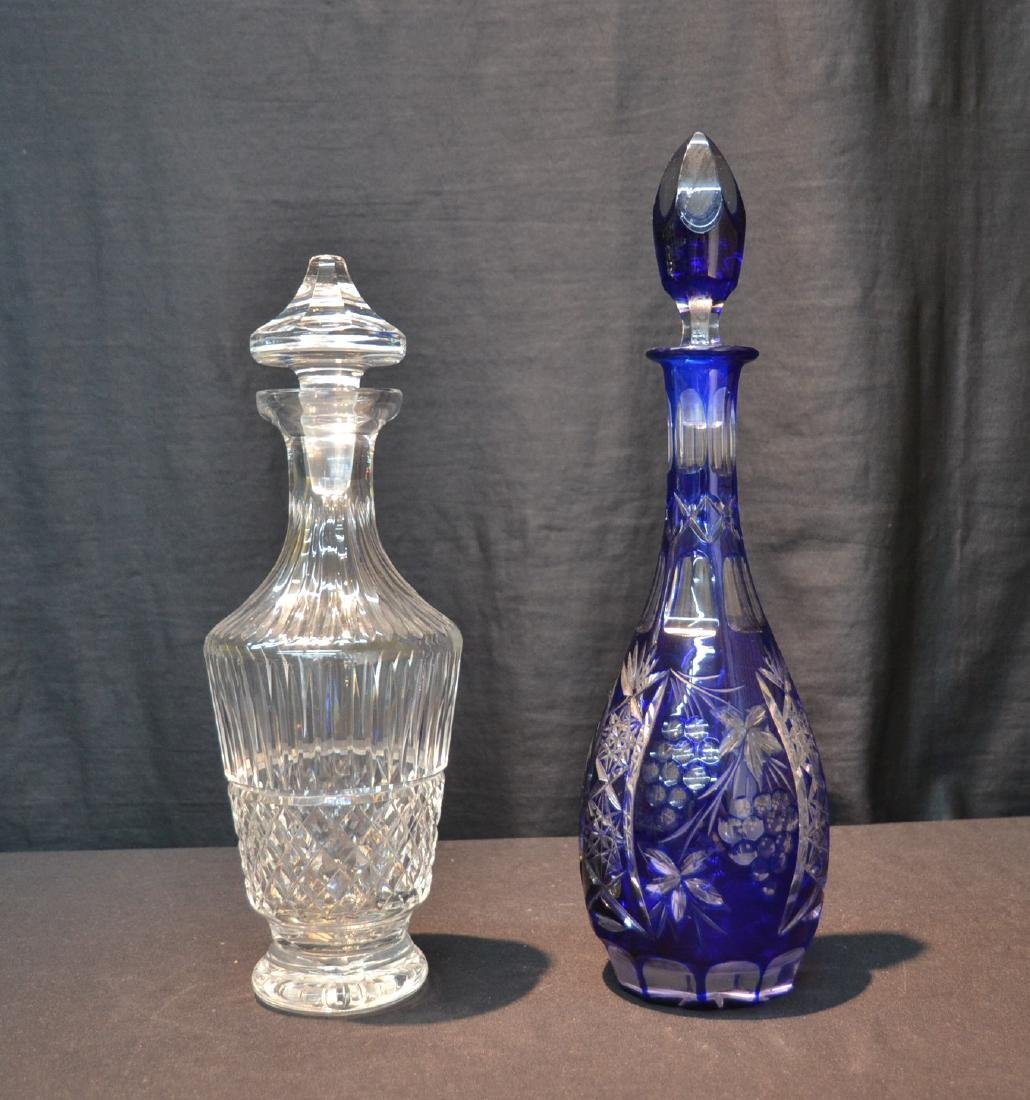 WATERFORD CRYSTAL DECANTER & COBALT CUT TO CLEAR