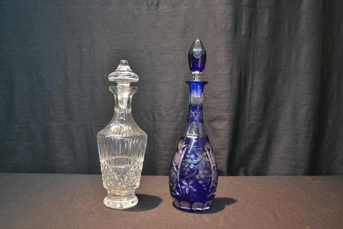 WATERFORD CRYSTAL DECANTER & COBALT CUT TO CLEAR - 3