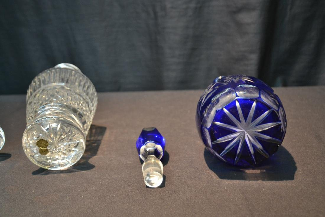 WATERFORD CRYSTAL DECANTER & COBALT CUT TO CLEAR - 8