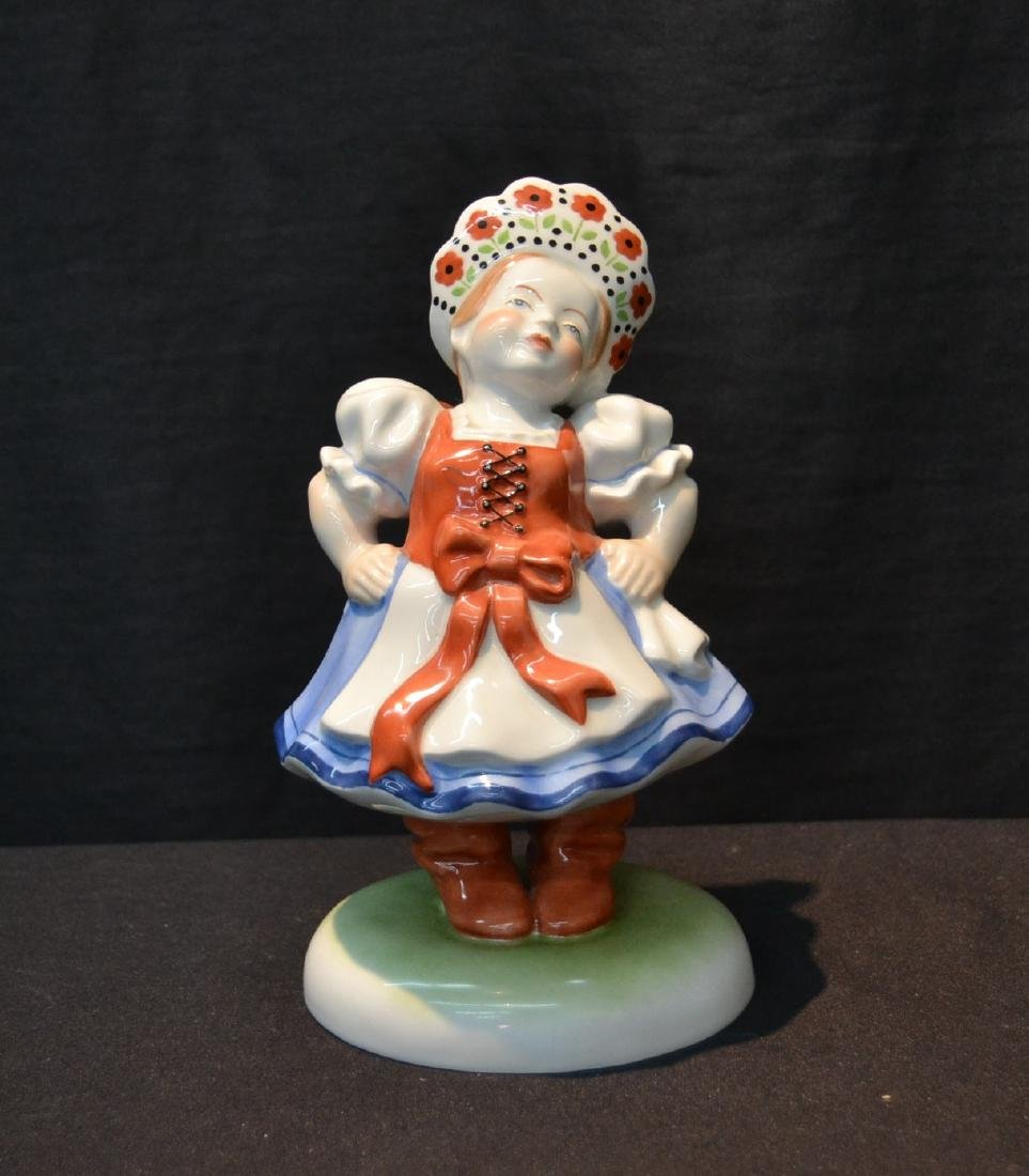HEREND PORCELAIN WOMAN WITH WITH HAT FIGURINE