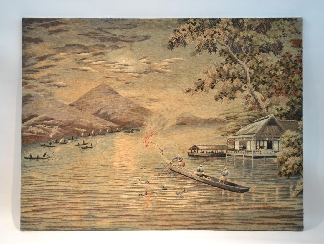 LARGE JAPANESE NEEDLEPOINT WALL HANGING