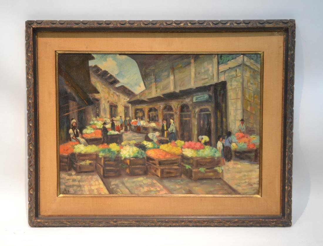 OIL ON CANAS JEWISH BAZAAR ; SIGNED