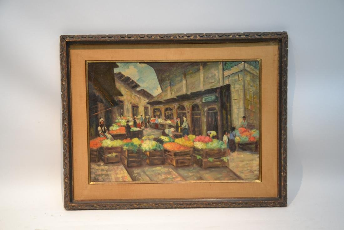 OIL ON CANAS JEWISH BAZAAR ; SIGNED - 2