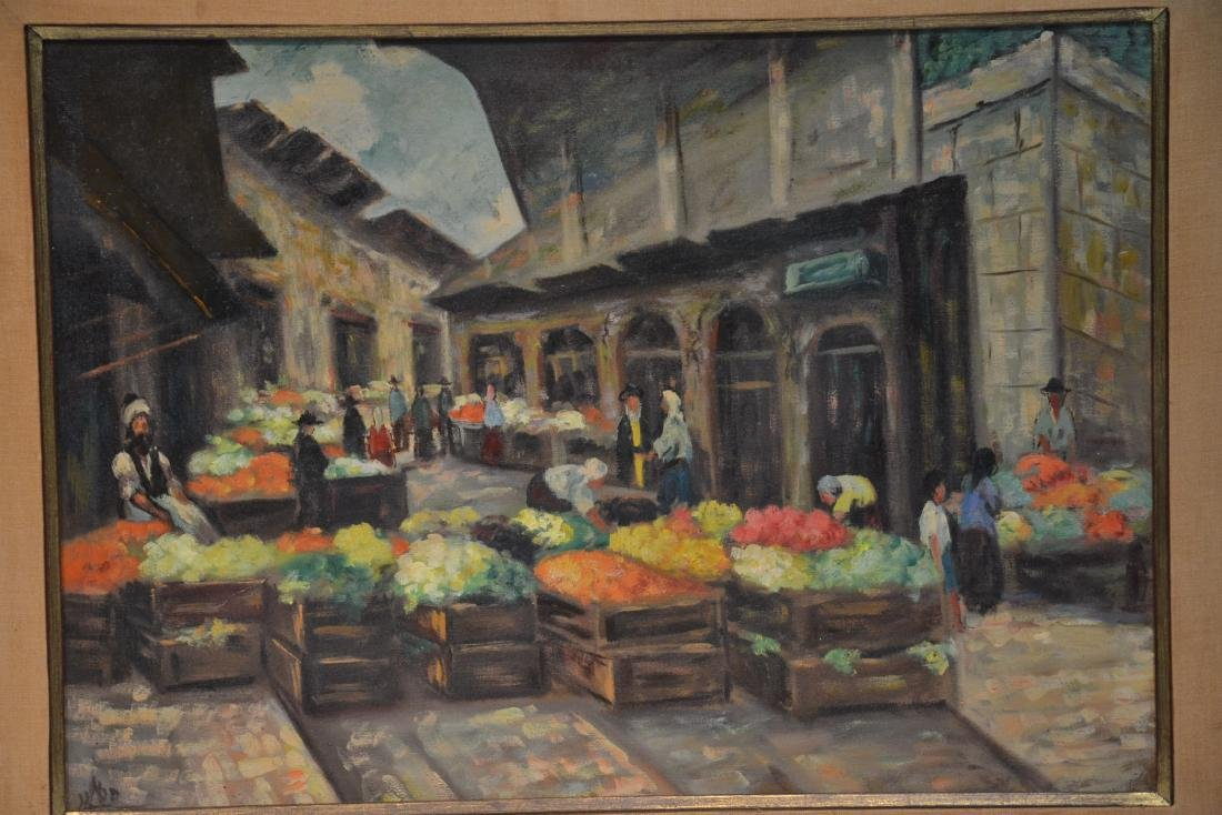 OIL ON CANAS JEWISH BAZAAR ; SIGNED - 3