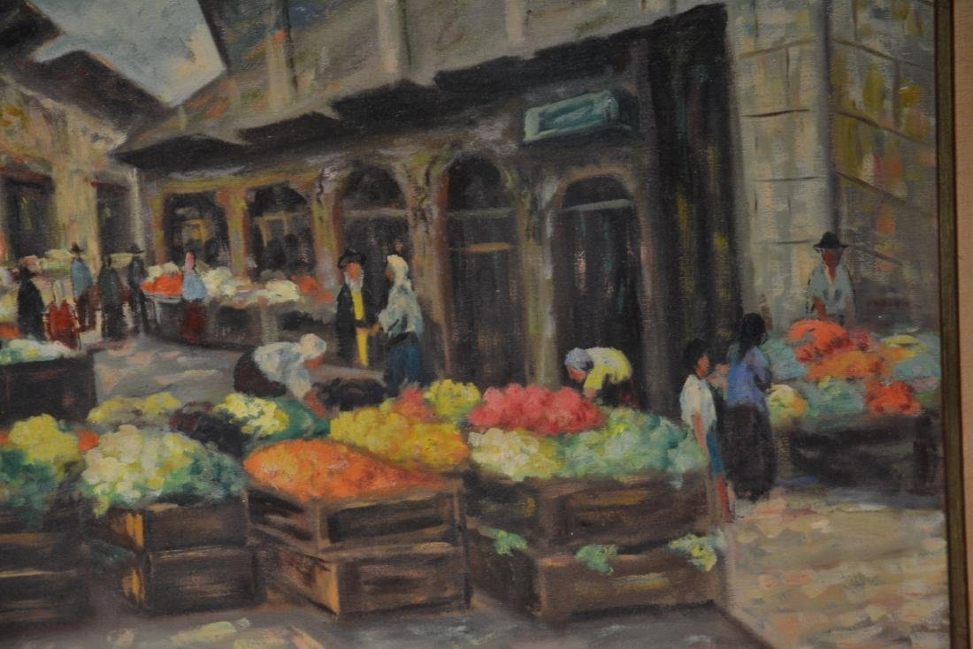 OIL ON CANAS JEWISH BAZAAR ; SIGNED - 4