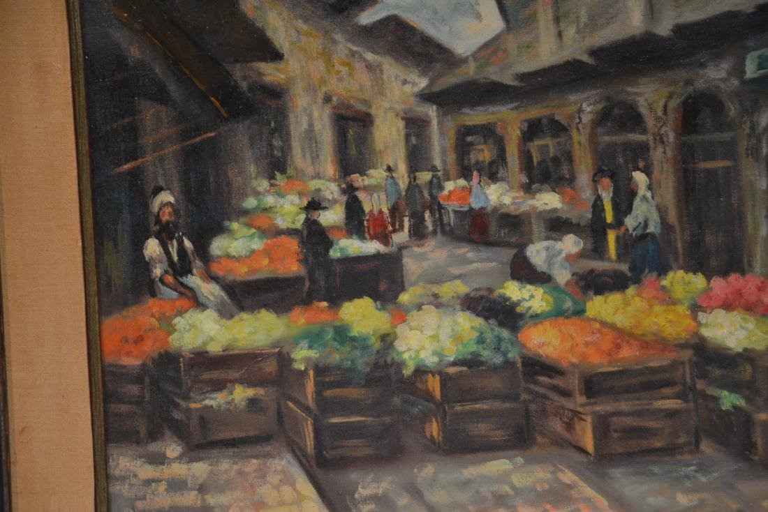 OIL ON CANAS JEWISH BAZAAR ; SIGNED - 5