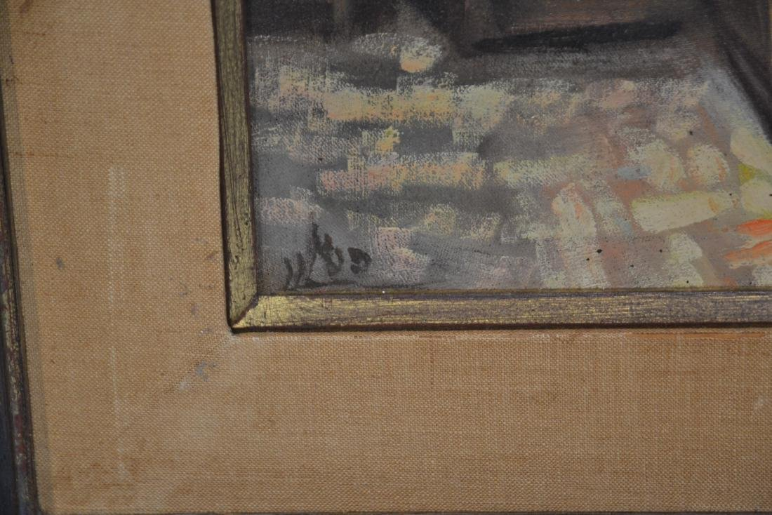 OIL ON CANAS JEWISH BAZAAR ; SIGNED - 7