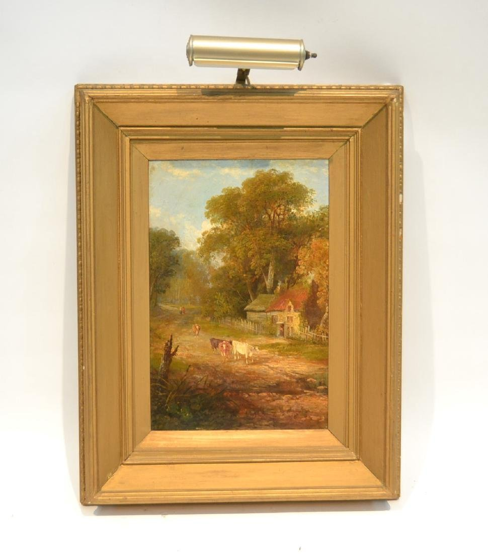 OIL ON BOARD OF COWS GRAZING IN GILT FRAME