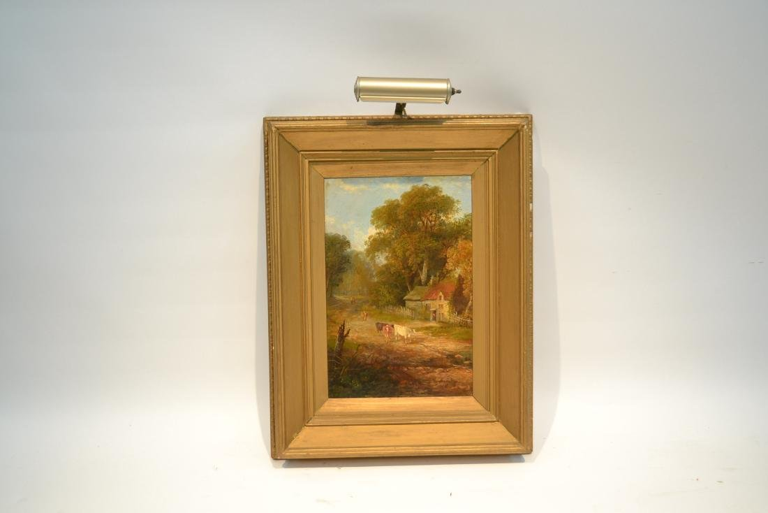 OIL ON BOARD OF COWS GRAZING IN GILT FRAME - 2