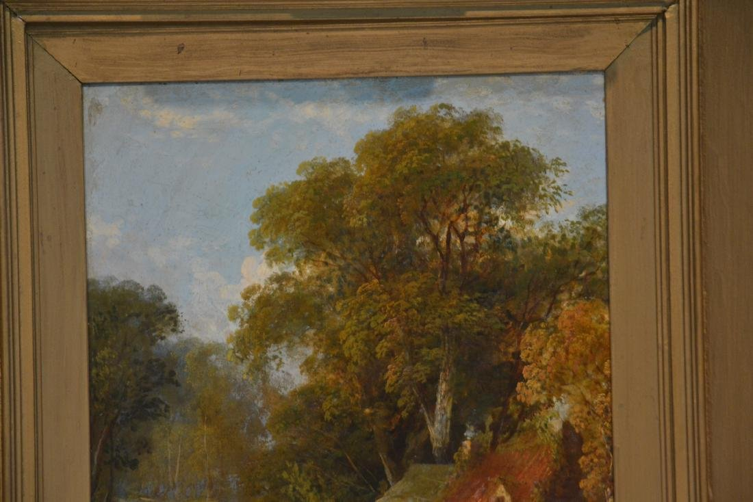 OIL ON BOARD OF COWS GRAZING IN GILT FRAME - 3