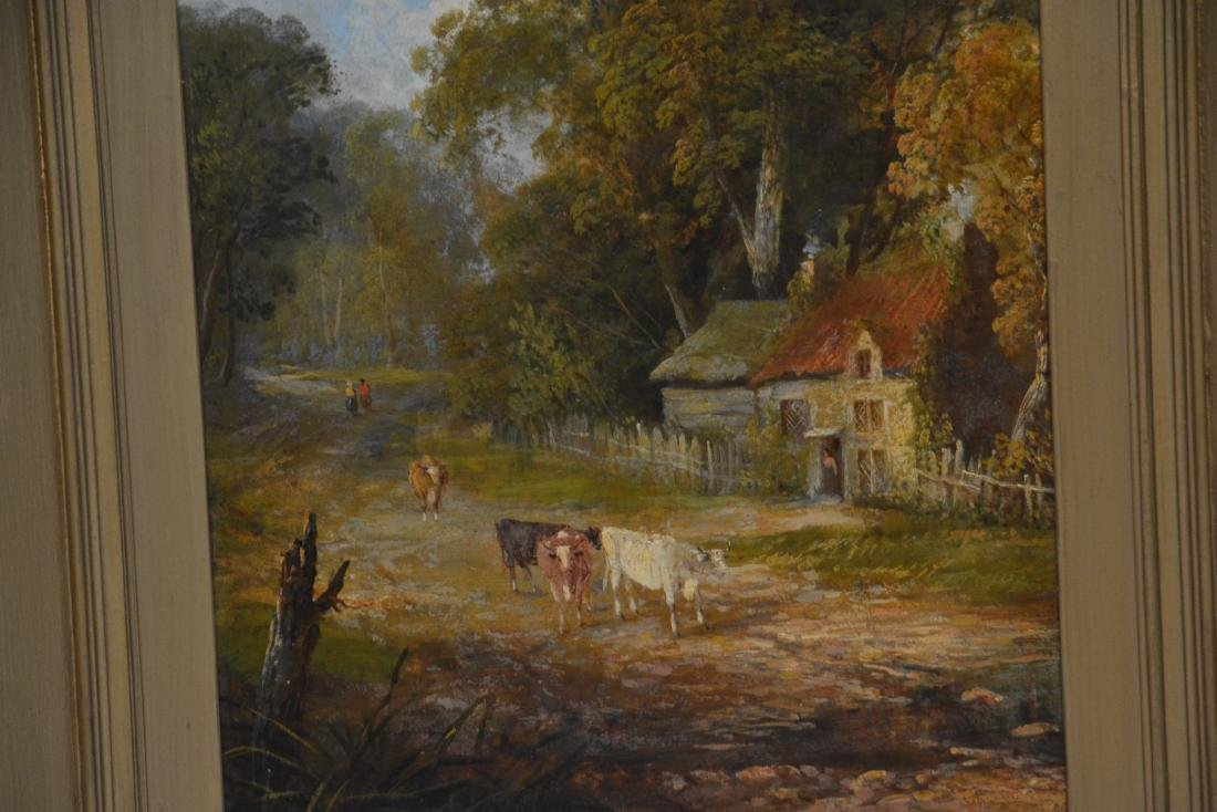 OIL ON BOARD OF COWS GRAZING IN GILT FRAME - 4