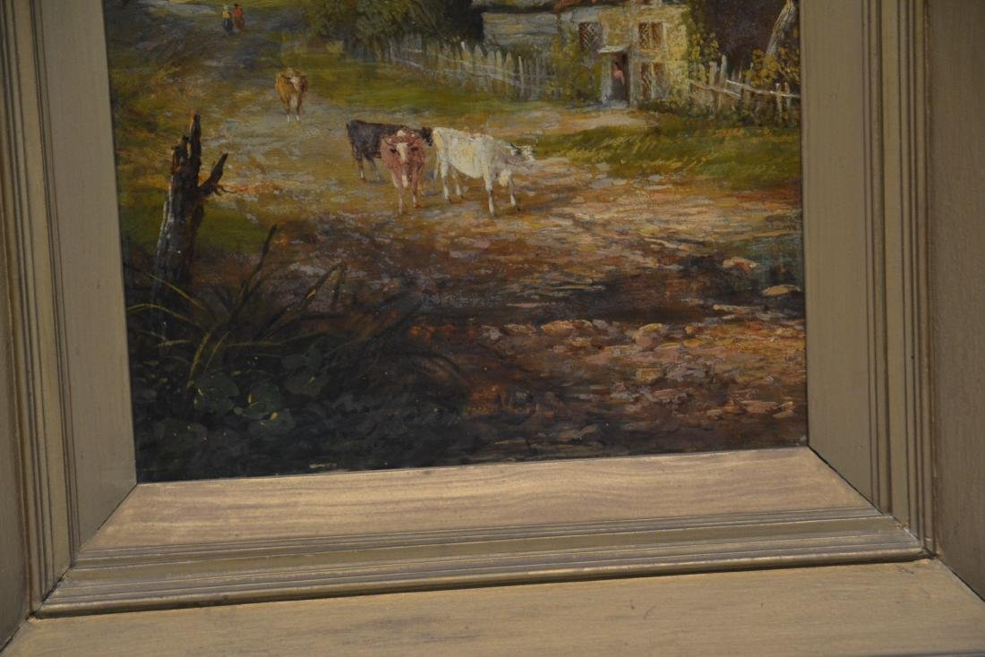OIL ON BOARD OF COWS GRAZING IN GILT FRAME - 5