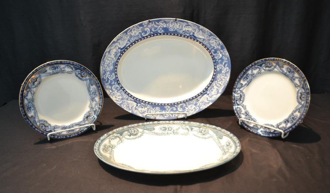 BLUE & WHITE ENGLISH STAFFORDSHIRE PIECES