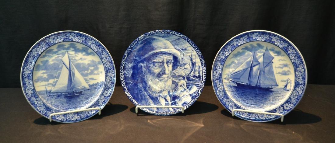 (2) WEDGWOOD BLUE & WHITE SAILBOAT PLATES