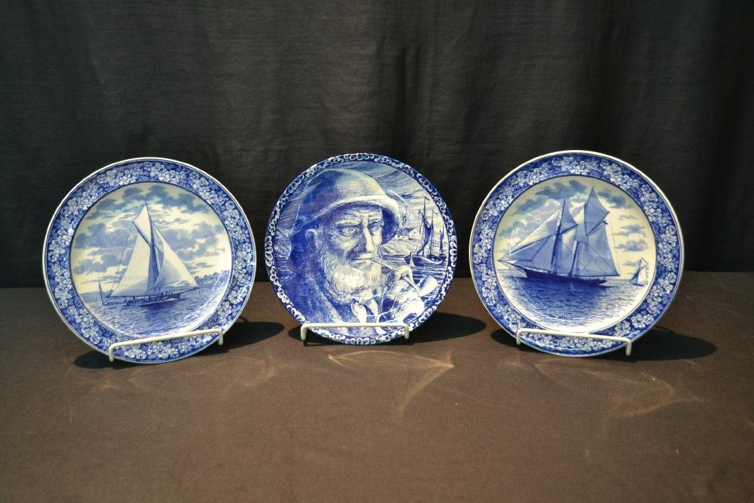 (2) WEDGWOOD BLUE & WHITE SAILBOAT PLATES - 2