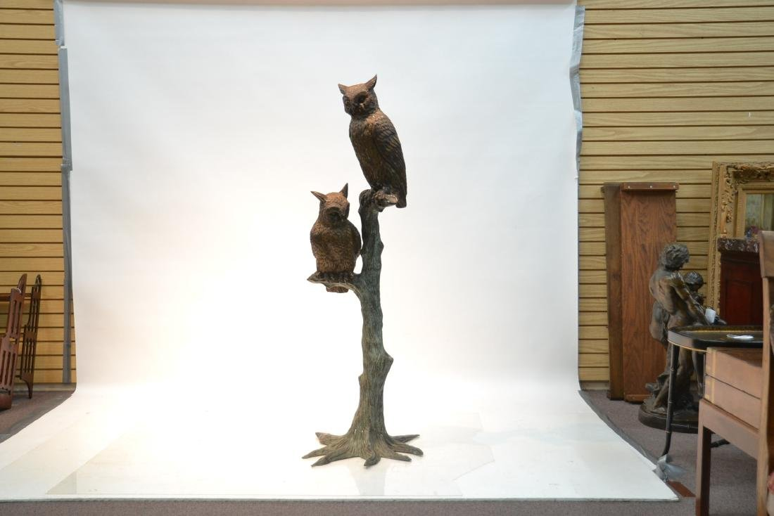 LARGE BRONZE OWLS PERCHED ON TREE - 2