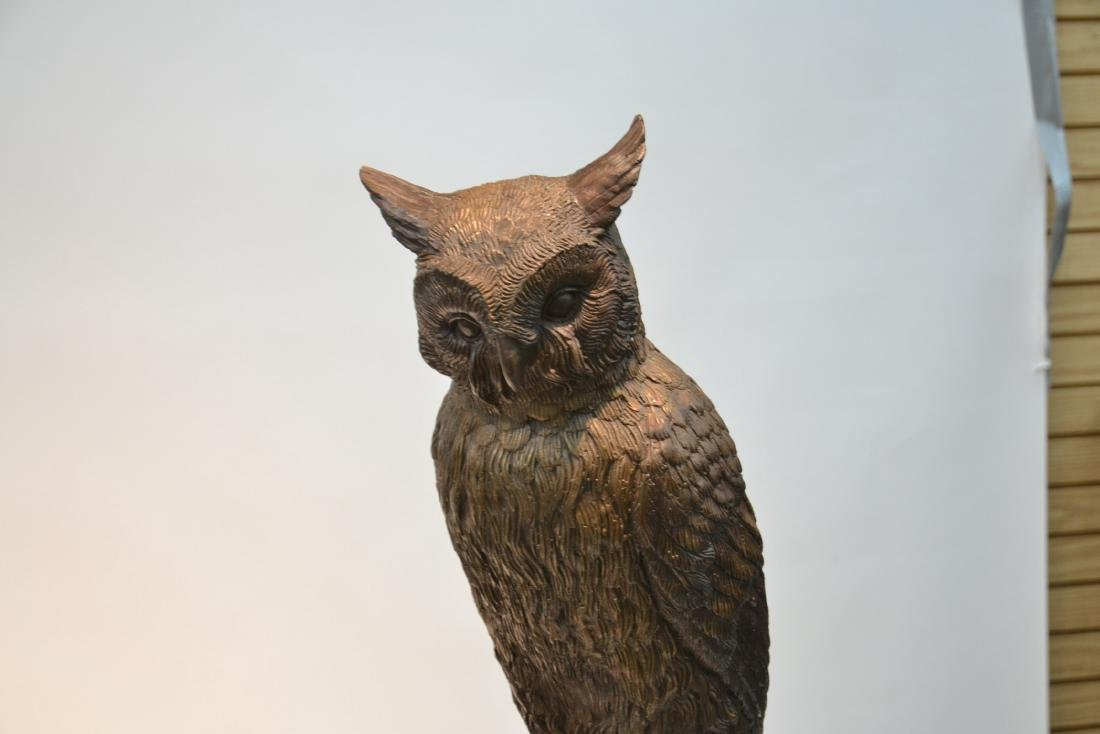 LARGE BRONZE OWLS PERCHED ON TREE - 3