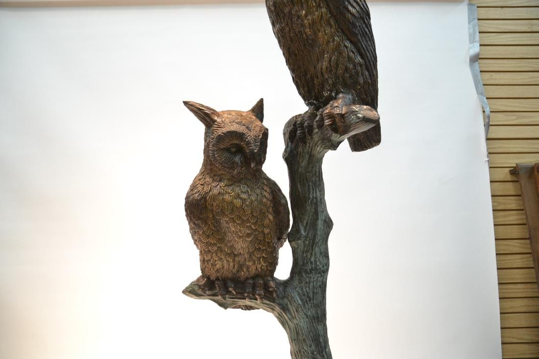 LARGE BRONZE OWLS PERCHED ON TREE - 4