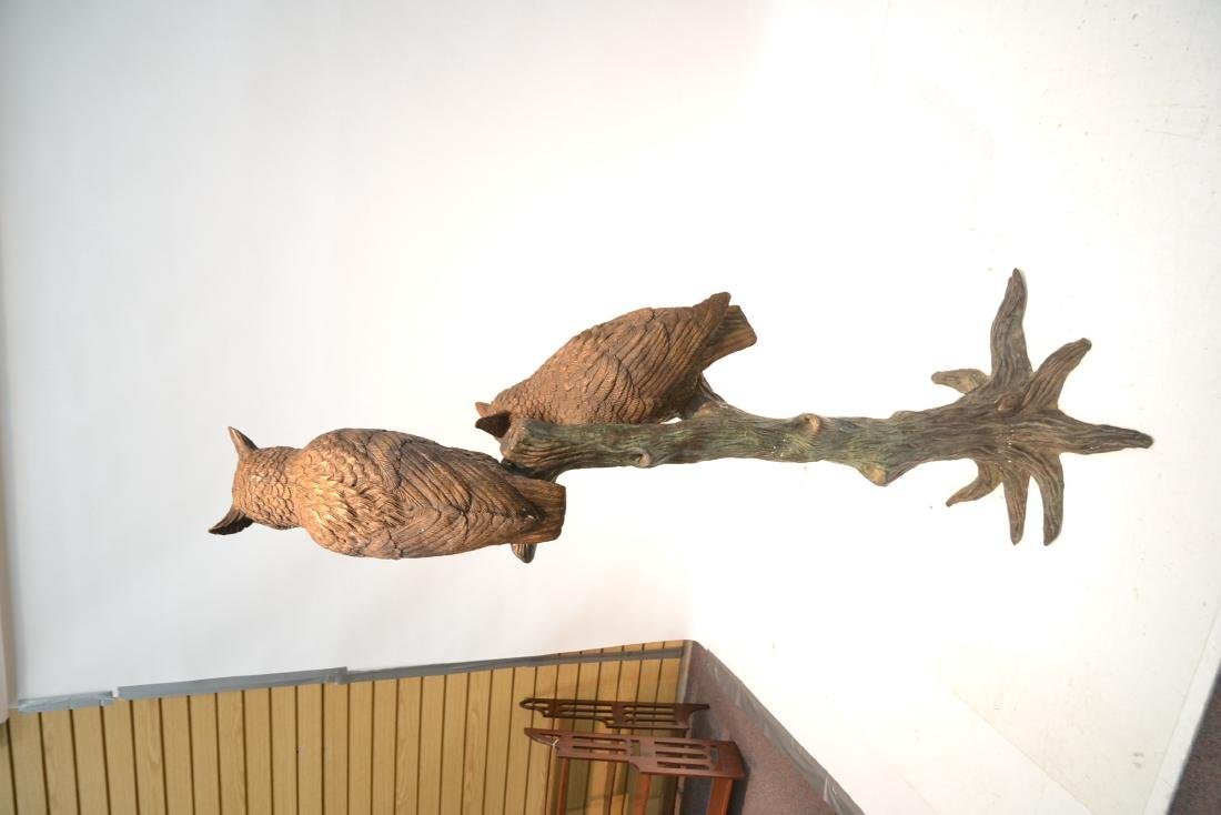 LARGE BRONZE OWLS PERCHED ON TREE - 7