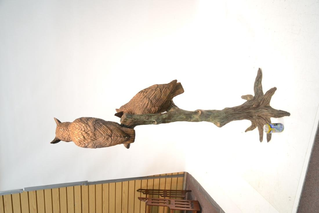 LARGE BRONZE OWLS PERCHED ON TREE - 8