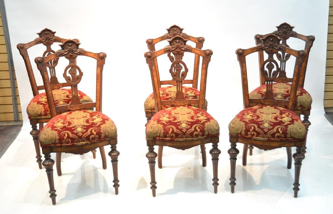 (6) UPHOLSTERED VICTORIAN WALNUT SIDE CHAIRS