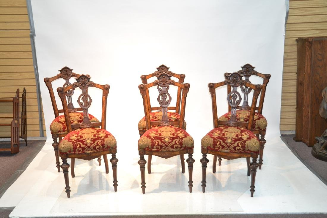 (6) UPHOLSTERED VICTORIAN WALNUT SIDE CHAIRS - 2