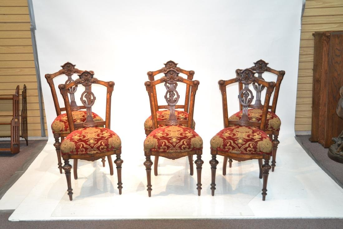 (6) UPHOLSTERED VICTORIAN WALNUT SIDE CHAIRS - 3