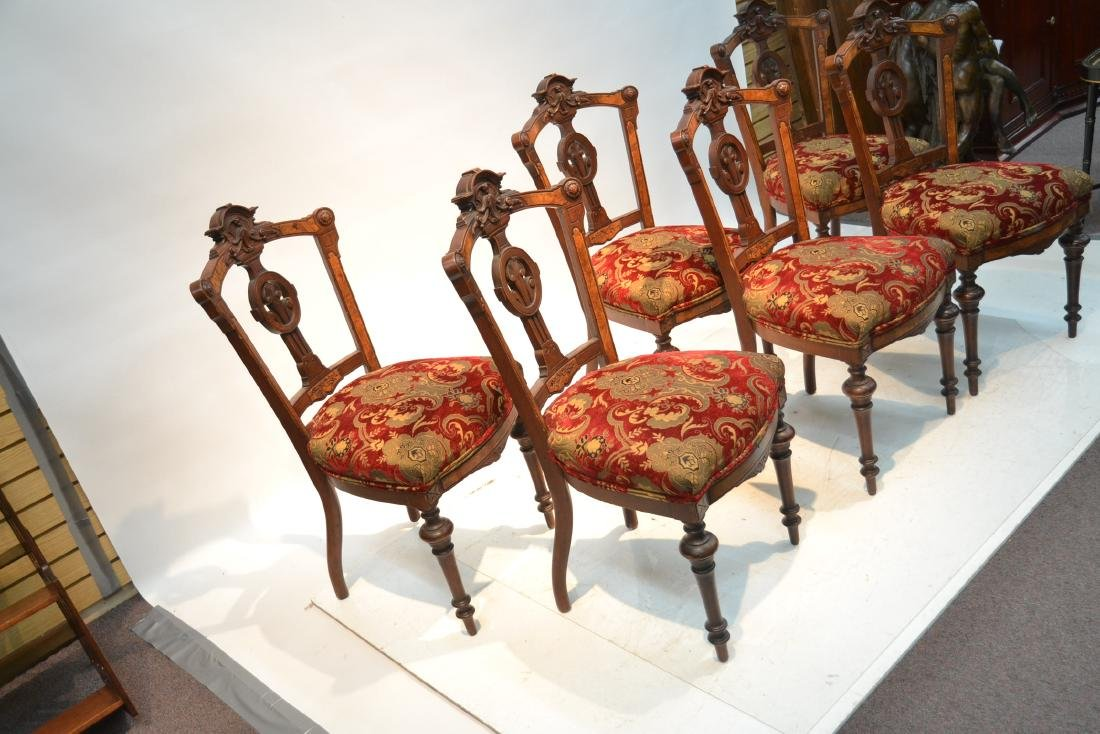(6) UPHOLSTERED VICTORIAN WALNUT SIDE CHAIRS - 4