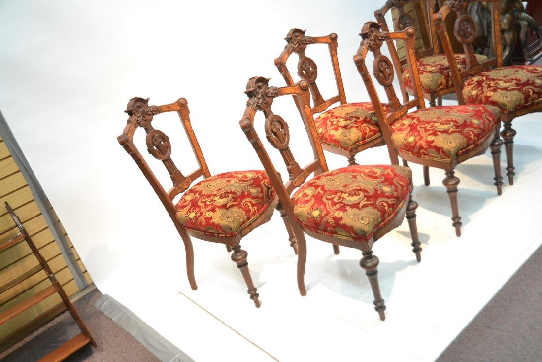(6) UPHOLSTERED VICTORIAN WALNUT SIDE CHAIRS - 5