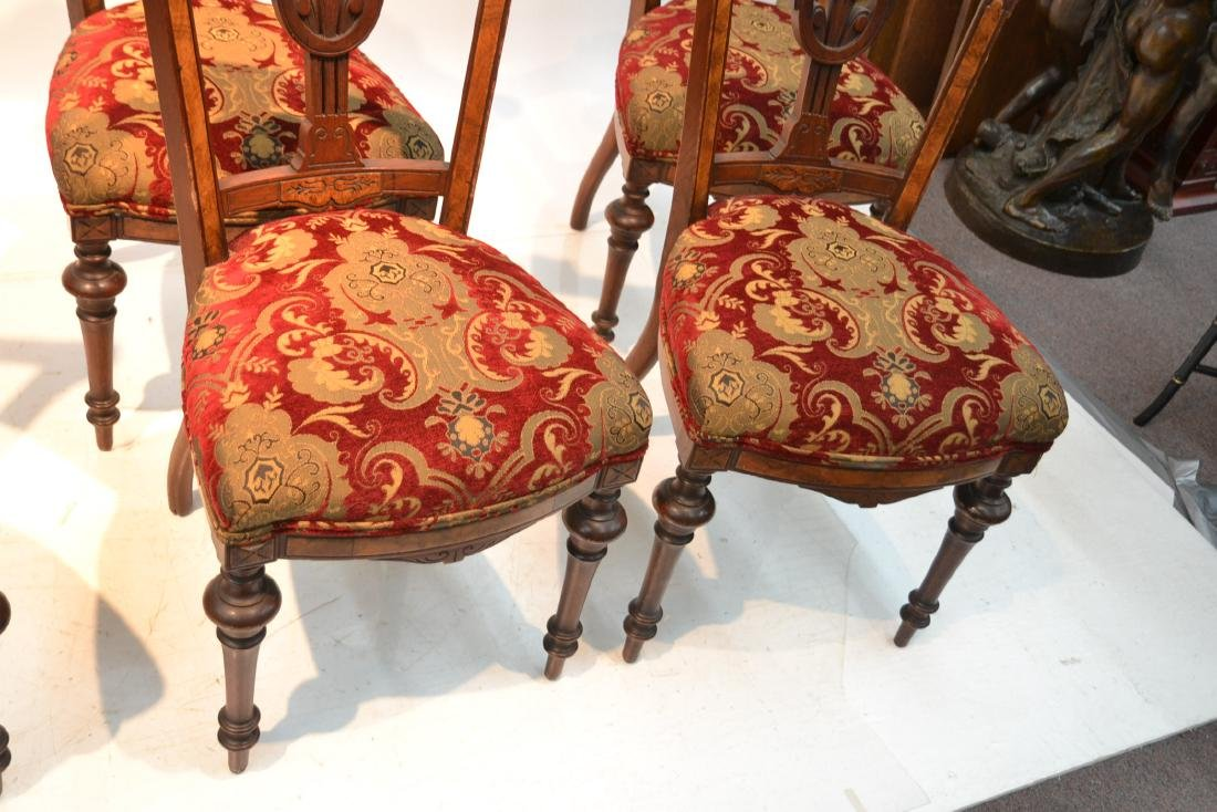 (6) UPHOLSTERED VICTORIAN WALNUT SIDE CHAIRS - 6