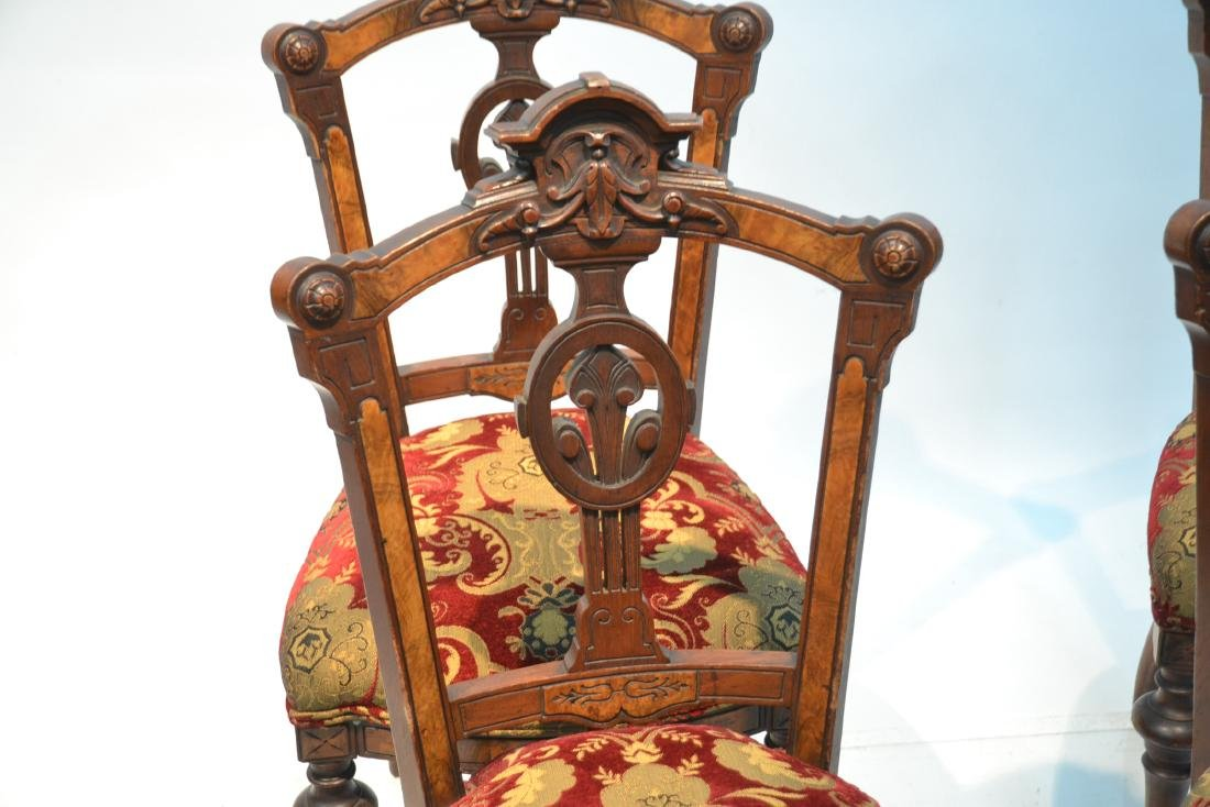 (6) UPHOLSTERED VICTORIAN WALNUT SIDE CHAIRS - 7