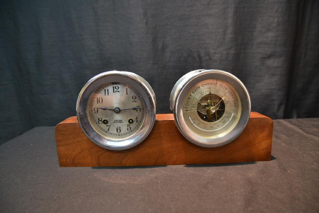 CHELSEA SHIP CLOCK & BAROMETER ON STAND - 10