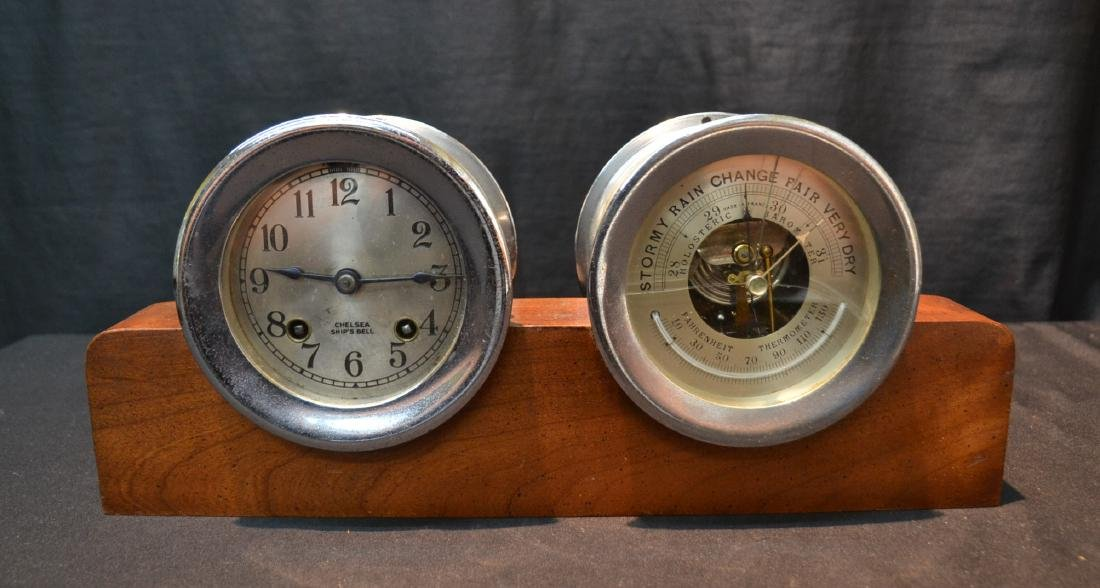CHELSEA SHIP CLOCK & BAROMETER ON STAND