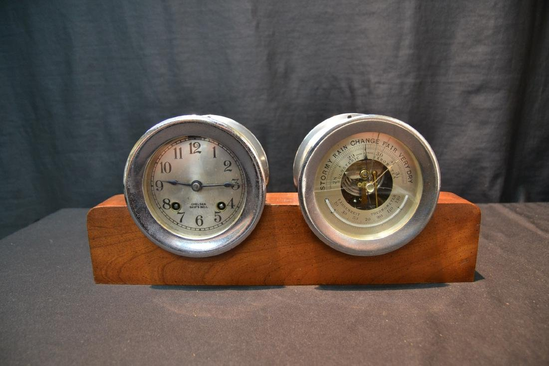 CHELSEA SHIP CLOCK & BAROMETER ON STAND - 2