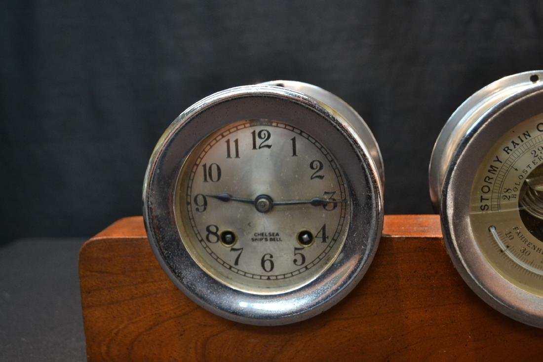 CHELSEA SHIP CLOCK & BAROMETER ON STAND - 3