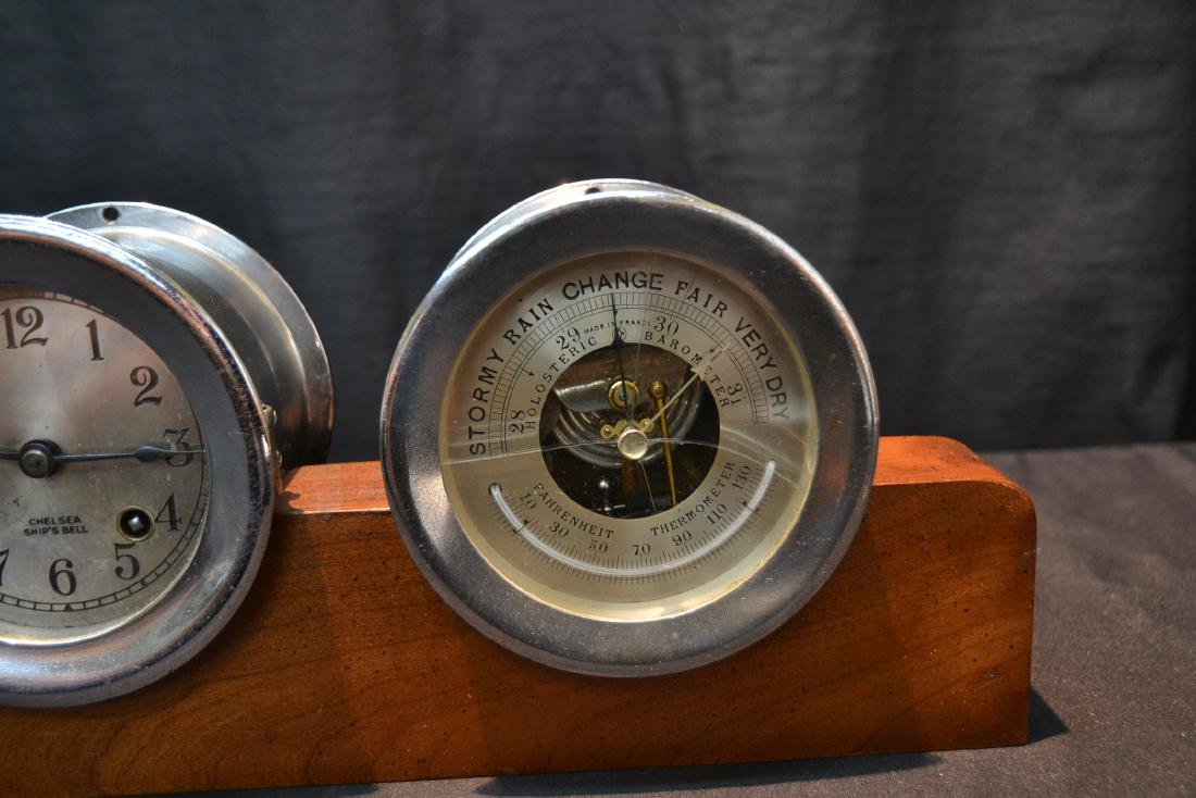 CHELSEA SHIP CLOCK & BAROMETER ON STAND - 5
