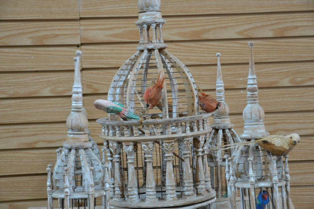 VICTORIAN STYLE ARCHITECTURAL MAHOGANY BIRDCAGE - 5
