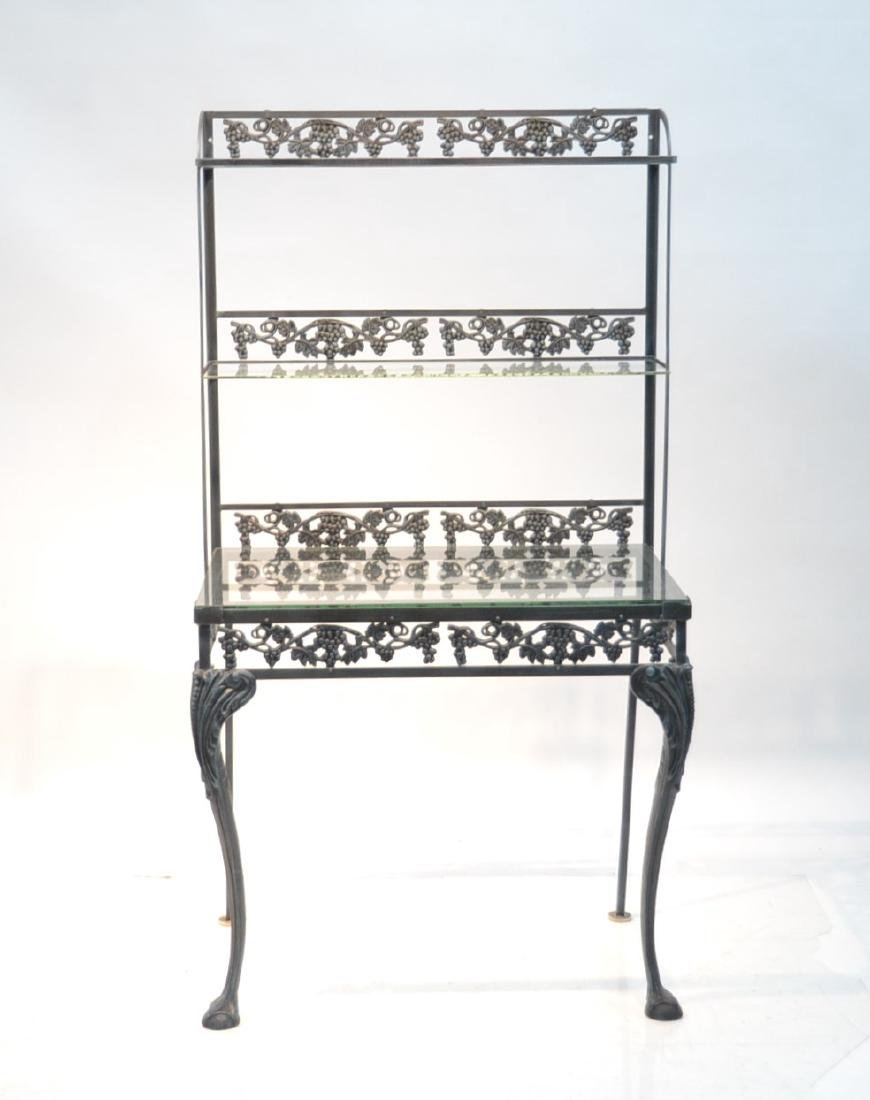 IRON ETAGERE RACK WITH GLASS TOP